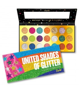 UNITED SHADES OF GLITTER - 21 Pressed Glitter Palette - RUDE COSMETICS RUDE COSMETICS -  31.49