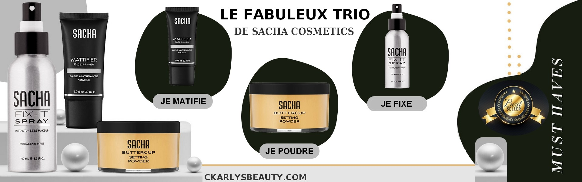 TRIO PACK SACHA MATIFIER BASE + BUTTERCUP POWDER + FIX-IT SPRAY 100ML